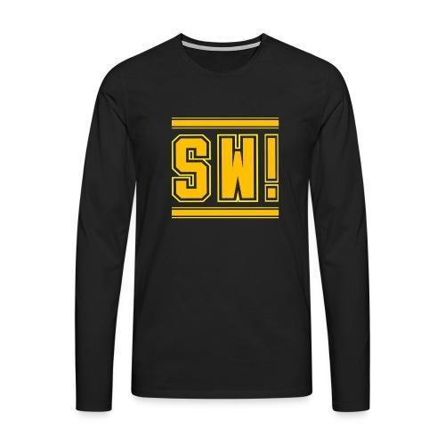 SUPER WANG!, Kontrast Hoodie, schwarz-gelb, mit Lo - Männer Premium Langarmshirt