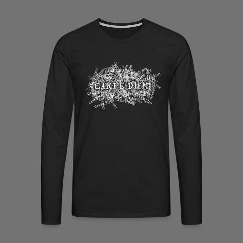 carpe diem (valkoinen) - Miesten premium pitkähihainen t-paita