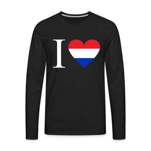Ik hou van Nederland | Hart met rood wit blauw - Mannen Premium shirt met lange mouwen