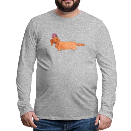 dachshund with flower - Herre premium T-shirt med lange ærmer