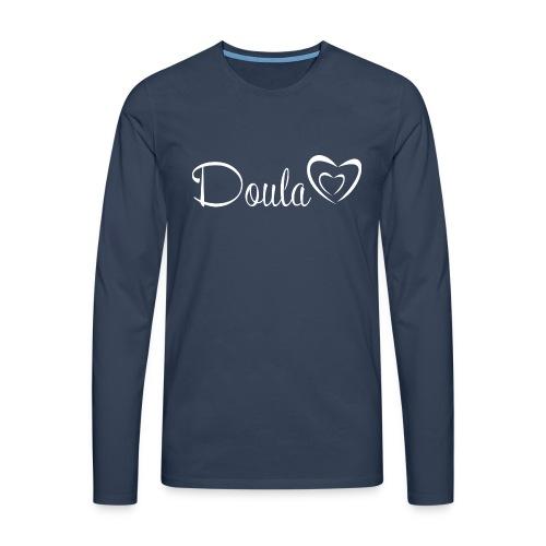 doula sydämet valkoinen - Miesten premium pitkähihainen t-paita