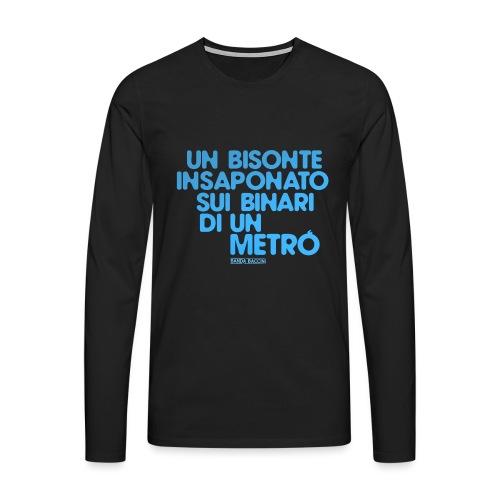 Un bisonte insaponato sui binari di un metrò. - Maglietta Premium a manica lunga da uomo