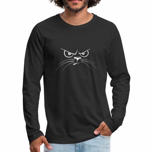 GATTO ARRABBIATO BIANCO - ANGRY CAT - Maglietta Premium a manica lunga da uomo