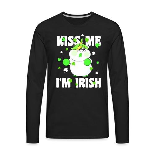 Kiss me I'm Irish Unicorn Einhorn - Männer Premium Langarmshirt
