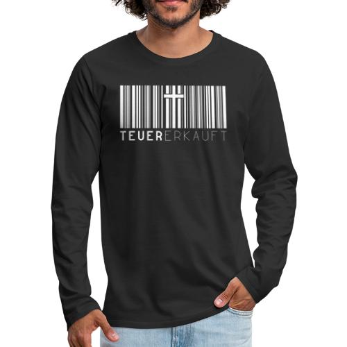 Teuer Erkauft Barcode Jesus Kreuz - Christlich - Männer Premium Langarmshirt