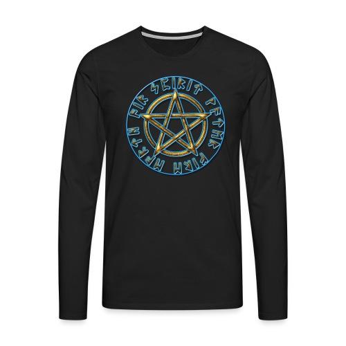 Runen Pentagramm Elemente Schutz Amulett Magie - Männer Premium Langarmshirt