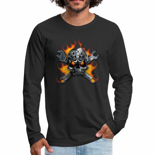 skull with crosstools - Miesten premium pitkähihainen t-paita