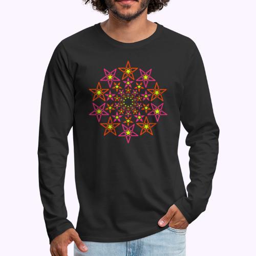 fractal star 3 color neon - Mannen Premium shirt met lange mouwen
