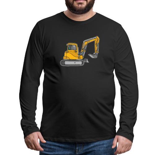 BAGGER, gelbe Baumaschine mit Schaufel und Ketten - Männer Premium Langarmshirt
