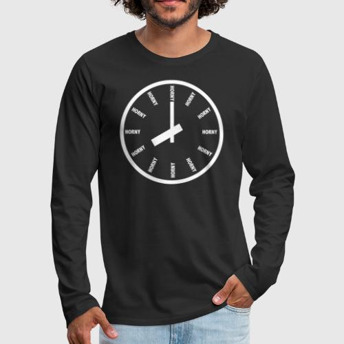 HORNY white png - Herre premium T-shirt med lange ærmer