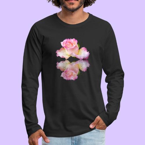 pinke Rose mit Regentropfen im Spiegel, rosa Rosen - Männer Premium Langarmshirt