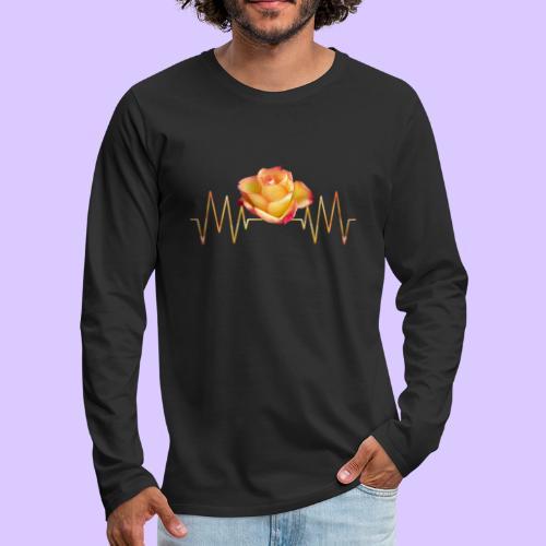 Rose, Herzschlag, Rosen, Blume, Herz, Frequenz - Männer Premium Langarmshirt