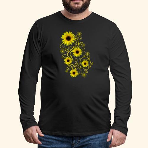 gelbe Sonnenblumen, Ornamente, Sonnenblume, Blumen - Männer Premium Langarmshirt