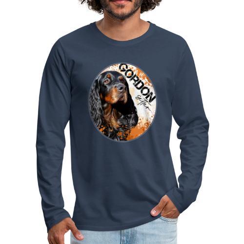Gordon Setter Splash - Miesten premium pitkähihainen t-paita