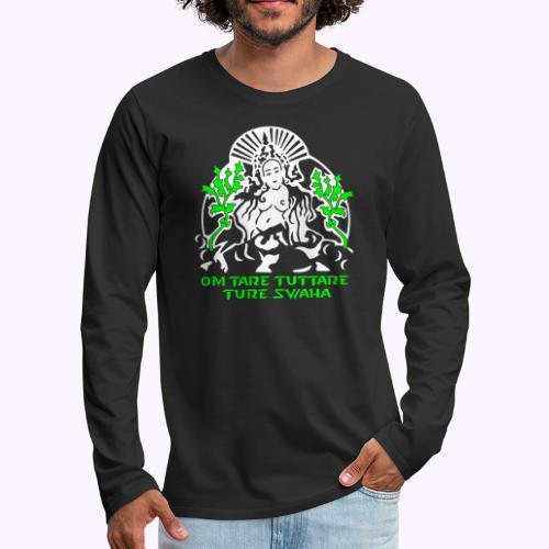 Valkoinen tara - Miesten premium pitkähihainen t-paita