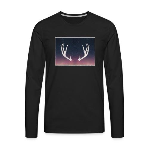 Poronsarvet taustalla - Miesten premium pitkähihainen t-paita
