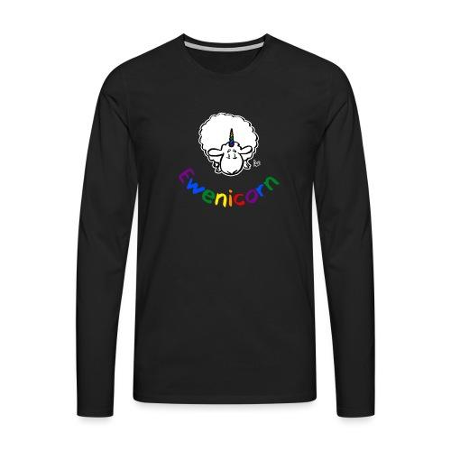 Ewenicorn (testo arcobaleno edizione nera) - Maglietta Premium a manica lunga da uomo