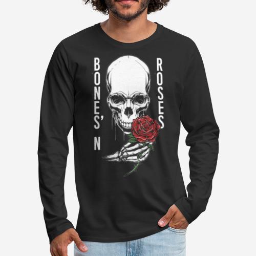 Knochen Rosen Schädel - Männer Premium Langarmshirt