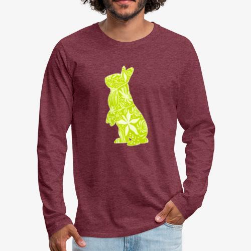 Flower Bunny Lime - Miesten premium pitkähihainen t-paita