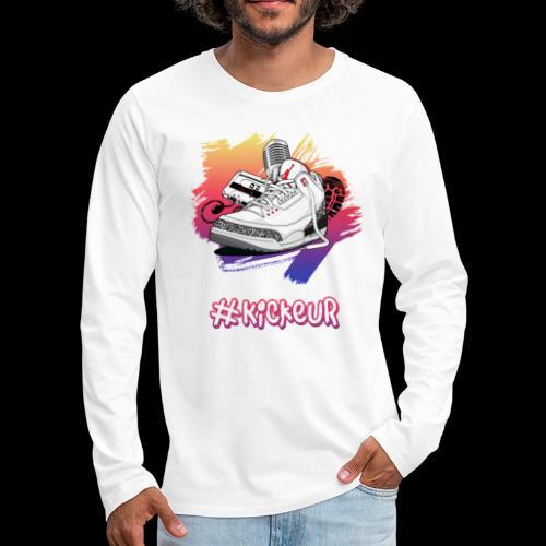 #Kickeur Blanc - T-shirt manches longues Premium Homme