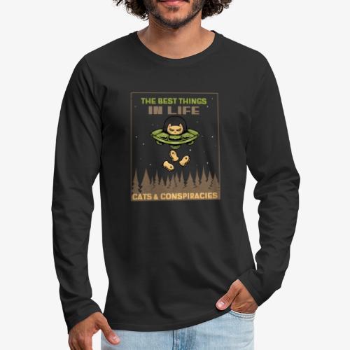 Cats and Conspiracies - Miesten premium pitkähihainen t-paita