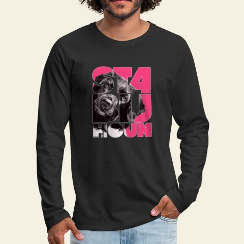 NASSU Stabijhoun 4 - Miesten premium pitkähihainen t-paita