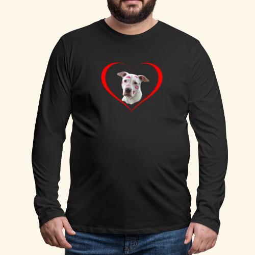 weisser Pit bull Herz Kuss - Männer Premium Langarmshirt