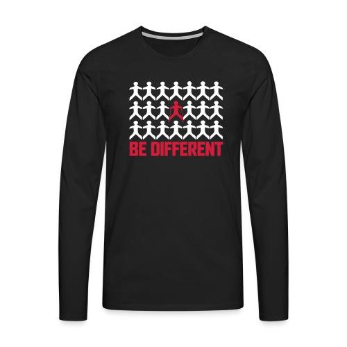 Nordic Walking - Be Different - Miesten premium pitkähihainen t-paita