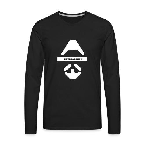 Biturzartmon Logo weiss glatt - Männer Premium Langarmshirt