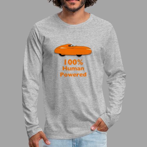 100% human powered - Miesten premium pitkähihainen t-paita
