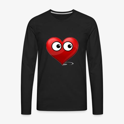 cœur avec yeux - T-shirt manches longues Premium Homme