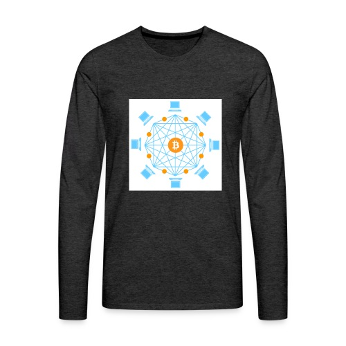 Blockchain - Miesten premium pitkähihainen t-paita