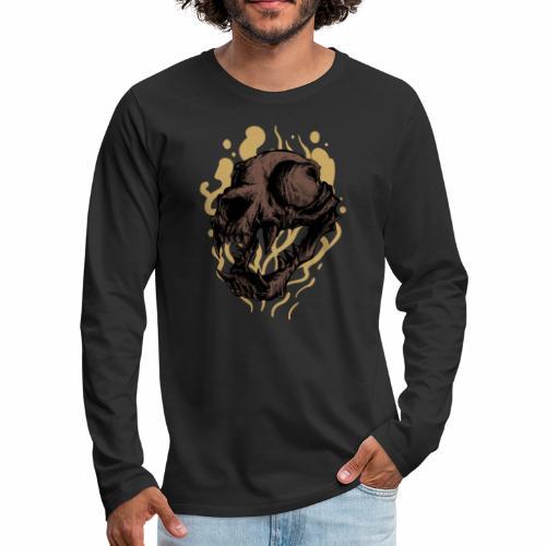 Cat Skull - Miesten premium pitkähihainen t-paita