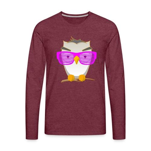 Eule Wald Vogel coole Nerdbrille Geek Big Bang Uhu - Men's Premium Longsleeve Shirt