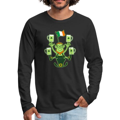 Leprechaun Juggling Beers and Irish Flag - Men's Premium Longsleeve Shirt