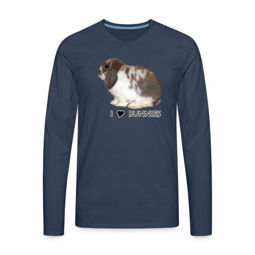 I Love Bunnies Luppis - Miesten premium pitkähihainen t-paita