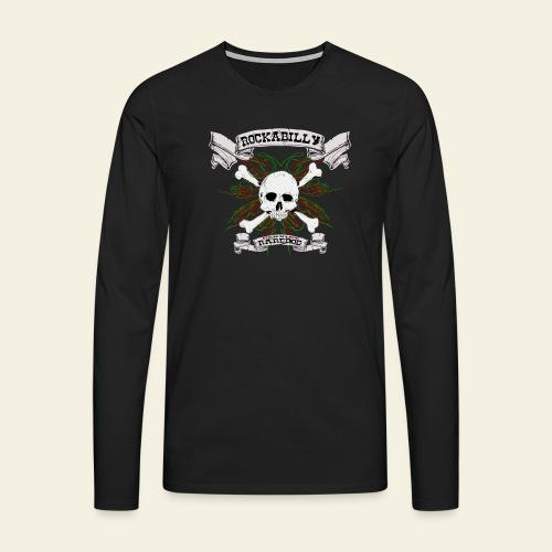 Rockabilly Raredog Skull - Herre premium T-shirt med lange ærmer