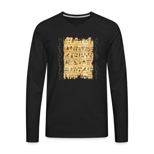 ausgerissener Papyri mit Hieroglyphen - Männer Premium Langarmshirt