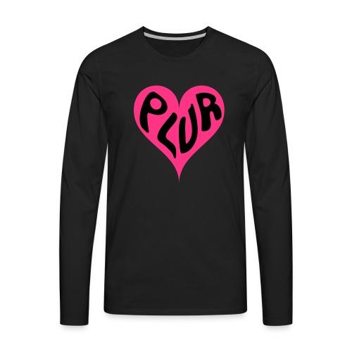 PLUR - Peace Love Unity and Respect love heart - Men's Premium Longsleeve Shirt
