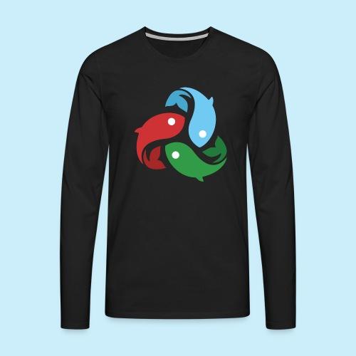 De fiskede fisk - Herre premium T-shirt med lange ærmer