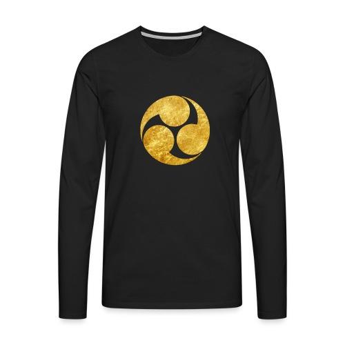 Kobayakawa Mon Japanese clan gold on black - Men's Premium Longsleeve Shirt