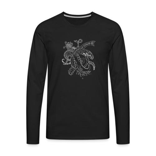 Fantasy hvid scribblesirii - Herre premium T-shirt med lange ærmer