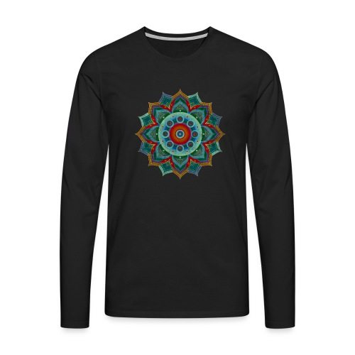 HANDPAN hang drum MANDALA blue red grey - Männer Premium Langarmshirt