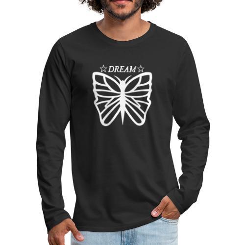 Dream butterfly motiv, black and white. - Långärmad premium-T-shirt herr