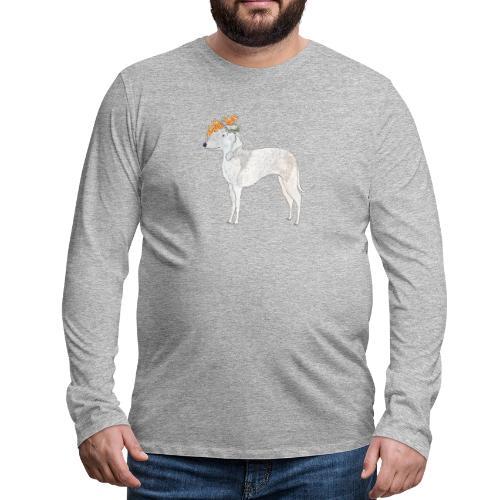 bedlington with flower - Herre premium T-shirt med lange ærmer