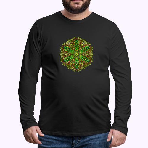 Tulipalo Lotus Mandala - Miesten premium pitkähihainen t-paita
