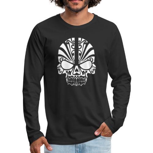 Tribal Skull white mit Logo - Männer Premium Langarmshirt