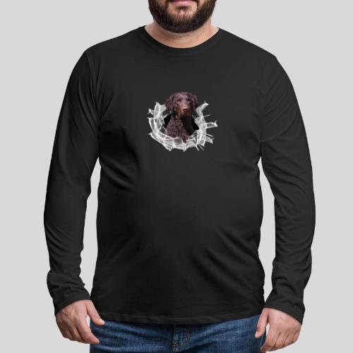 Curly Coated Liver im Glasloch - Männer Premium Langarmshirt