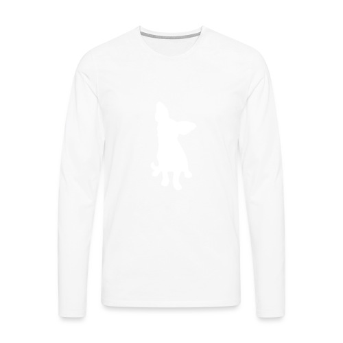 Chihuahua istuva valkoinen - Miesten premium pitkähihainen t-paita