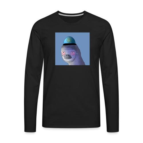 Jusun kanavan logo taustalla - Miesten premium pitkähihainen t-paita